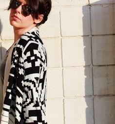 aztec sweater, grey t, skinnies, booties, mirror sunglasses