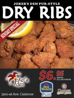 Dry Rib Night Sunday Special, Best Western, Events, Night, Food, Happenings, Meal, Eten, Meals