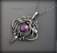 sapphire by KL-WireDream on DeviantArt Wire Necklace, Wire Wrapped Necklace, Wire Pendant, Pendant Jewelry, Art Nouveau Jewelry, Jewelry Art, Wire Jewelry Designs, Bijoux Diy, Fantasy Jewelry