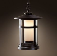 RH's Rutherford Pendant - Bronze:Etched, cased glass forms the inner shade of our Rutherford lantern-style fixture. Garden Lighting Diy, Beach House Lighting, Best Outdoor Lighting, Lounge Lighting, Outdoor Ceiling Lights, Home Decor Lights, Porch Lighting, Cool Lighting, Cabin Lighting