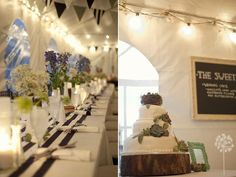 MMD Events wedding with black, white,& purples in an enclosed tent