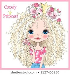 Hand drawn beautiful, cute, candy princess girl in a wreath with crown. Cute Cartoon Images, Cute Images, Cute Pictures, Crown Drawing, Cute Clipart, Cute Illustration, Girl Cartoon, Doll Face, Cute Drawings