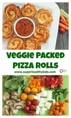 Veggie Packed Pizza Roll Recipe. Pack the veggies INSIDE your pizza! www.superhealthykids.com/veggie-packed-pizza-rolls
