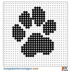 Pearl pattern of paw. On buegelperlenvorla … you can make a great choice … – Bügelperlen – Hama Beads Perler Bead Designs, Perler Bead Templates, Pearler Bead Patterns, Perler Patterns, Loom Patterns, Beading Patterns, Embroidery Patterns, Beading Tutorials, Bracelet Patterns