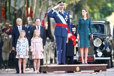 Spanish King Felipe VI, Queen Letizia and their daughters, Princesses Leonor and Sofia watch an military flyover during an army parade marking Spain's National Day in Madrid, Spain. 12 October 2014