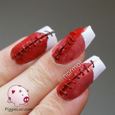 Bloody stitches nail art for Halloween