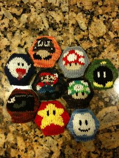 Mario hexipuffs by knittybooknerd, via Flickr