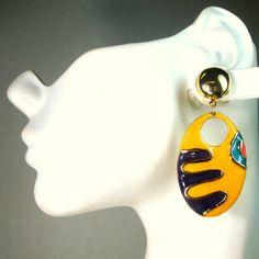 Mod Clip Dangle Earrings Matisse Enamel by VintageStarrBeads