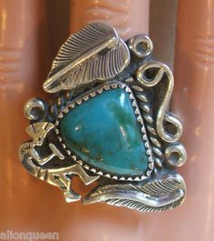 Big Heavy MEXICO Sterling Silver & TURQUOISE RING Kokopelli Stamped Design BAND