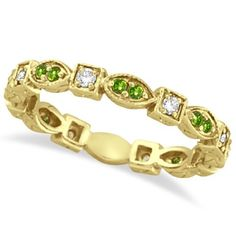 Peridot and Diamond Eternity Anniversary Ring Band 14K Yellow Gold >>> Click image for more details.
