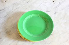 Green Vintage China Plate Art Deco Art Pottery 9 1/4 by Astarix, $18.00