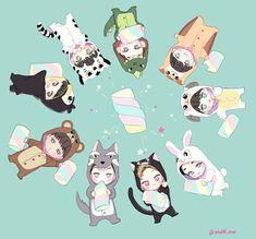 Exo fanart ♥ exo cute chibi chanyeol kai baekhyun xiumin d. Exo Xiumin, Kpop Exo, Exo Chen, Exo Cartoon, 5 Years With Exo, Exo Anime, Exo Lockscreen, Exo Fan Art, Exo Luxion