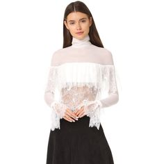 Vatanika White Lace Blouse ($495) ❤ liked on Polyvore featuring tops, blouses, white, long sleeve blouse, white lace top, sheer long sleeve blouse, sheer white blouses and open back blouse