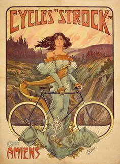 Cycles Strock, ca. 1900, E. Celos  Lithograph, France
