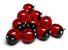 Lampwork glass ladybird (ladybug) beads by Laura Sparling