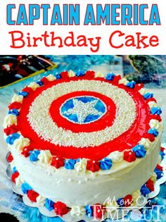 A good -- DIY version of a Captain America Birthday Cake | MomOnTimeout.com #avengers #birthday #cake