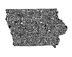 Iowa typography map art print customizable by CAPow on Etsy