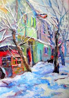 "Original art for sale at UGallery.com | Winter in Old Town by Suren Nersisyan | $550 | oil painting | 27"" h x 19"" w 