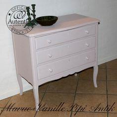 Kommode i sart rosa, 50% af Mauve og Vanille, Autentico kalkmaling