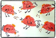 animaux de la ferme, poules, empreintes, bricolage enfant