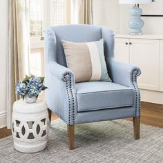 Our classic Wingback Armchair has been given a fresh look in duck egg blue. It features pure linen upholstery and a foam cushion seat. It is beautifully crafted and would look elegant in the bedroom or living room. Availability: Due early February Hamptons Style Bedrooms, Hamptons Style Decor, Wingback Armchair, Blue Armchair, Bedroom Armchair, Sofa, Modern Armchair, Estilo Hampton, Duck Egg Blue Linen