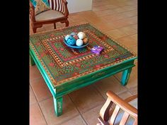 The finished look of a once outdated teak coffee table! Love it. Used the Indian Inlay Stencil Kit by Kim Myles from Cutting Edge Stencils. http://www.cuttingedgestencils.com/indian-inlay-stencil-furniture.html