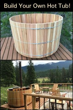 Build your own hot tub! - Relax with Friends and Family in Your Backyard this Winter by Building Your Own Wood-Fired Hot Tub! Outdoor Tub, Outdoor Bathrooms, Outdoor Decor, Hot Tub Backyard, Backyard Sheds, Backyard Pools, Pool Decks, Pool Landscaping, Sauna Design