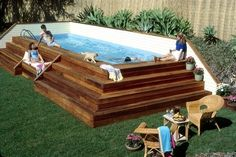 very cool way to do an above ground pool.for Loris yard