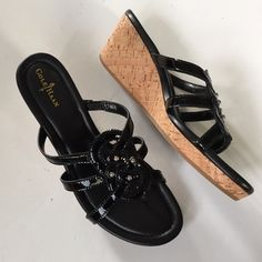 "NWOT Cole Haan leather wedges New without tags; Gorgeous black patent leather with silver tone studs. 2 1/2"" wedge and 3/4"" platform. Comfy and classic Cole Haan quality. Smoke-free/pet-free home. Cole Haan Shoes"
