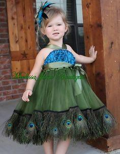 Sweet little peacock chiffon couture dress, & an even sweeter little model! / http://www.sweetandsassygirl.com/item_1960/Peacock-Chiffon-Couture-Dress.htm#