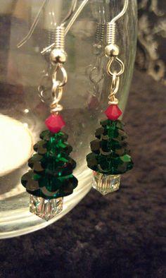 Christmas Tree Crystal Earrings