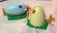 Fisher Price Little People Tan and Blue Dino Dinosaur Eggs for Baby #FisherPrice
