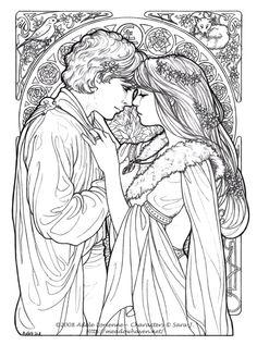Casal romântico medieval para colorir                                                                                                                                                      Mais