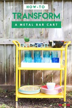 Transform a rusty metal cart into a party-ready verticle bar cart just in time for summer. Make it for indoor and outdoor use with Stops Rust Spray Paint. Learn step-by-step how @loveandrenovations did it and DIY for a chance to win $200 in prizes. Visit stopsrust.com/rules for details. Color featured here is Gloss Tuscan Sun.