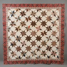 """Pieced Chintz and cotton Geometric star patterned quilt Late 19th c (looks earlier ) American 98""""x98"""""""