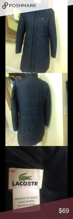 Lacoste Black Jacket Classic black Lacoste down jacket size 40 (US 6) Logo emblem on front, great style, low price. Questions feel free to contact me. Lacoste Jackets & Coats Puffers