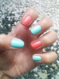 { amara blogs }: Monday ManiPedi: Mint Green and Coral Nails