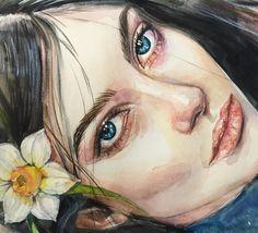 Watercolor Face, Watercolor Artwork, Watercolor Portraits, Amazing Drawings, Amazing Art, Art Sketches, Art Drawings, Wallpaper Wall, Guache