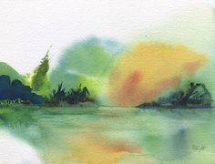Lake Sunset Watercolor By Frank Bright (print)