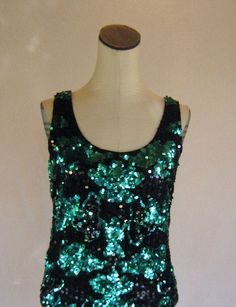 This is very excellent indeed Green+&+Black+Sequin+Tank+Top+Shirt+Slouchy+by+RetroFascination,+$23.00
