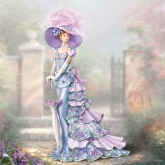 Thomas Kinkade Emily's Stroll in the Garden Figurine Vintage Pictures, Vintage Images, Pretty Pictures, Thomas Kinkade Art, Kinkade Paintings, Thomas Kincaid, Garden Figurines, Art Thomas, Victorian Women