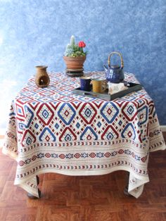 mantel mesa estampado navajo tribal print pattern tablecloth diseño design decoración decoration miraquechulo