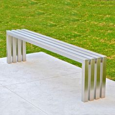 Linear Stainless Steel Bench - Modern Indoor Outdoor Bench Fully Welded From Substantial Stainless Steel Tubing Contemporary Outdoor Benches, Modern Bench, Wooden Garden Benches, Entryway Bench Storage, Bench Designs, Public Seating, Stainless Steel Tubing, Indoor Outdoor, Outdoor Decor