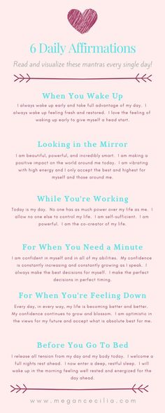 Here are six affirmations for you to use every day to create more abundance in your life. Visit my website to learn more about how to use affirmations and the Law of Attraction to create the life you deserve. Affirmations For Happiness, Affirmations For Women, Self Love Affirmations, Morning Affirmations, Law Of Attraction Affirmations, Money Affirmations, Law Of Attraction Love, Was Ist Pinterest, Manifestation Law Of Attraction
