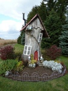 Tree Stump Turned Gnome Home By The Pond Garden