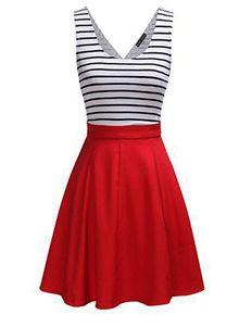 Cocktail Black White Striped Dress