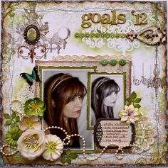 #scrapbook page by Gabrielle with a number of items.  Stitching, embellishments, lace, and stamps.
