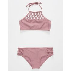 Damsel High Neck Girls Bikini Set (€32) ❤ liked on Polyvore featuring swimwear, bikinis, high neck halter top, high neck halter bikini, macrame halter top, bikini swimwear and halter-neck bikinis