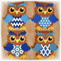 Bildergebnis für bügelperlen vorlagen eule Hama Beads, Fuse Beads, Owl Perler, Melted Bead Crafts, Diy For Kids, Crafts For Kids, Beaded Banners, Iron Beads, Owl Crafts