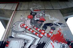 Italian Street Art by Diego Della Posta Grafitti Street, Graffiti Art, Urban Street Art, Urban Art, Italian Street, Wall Murals, Wall Art, Street Painting, Italian Painters